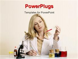PowerPoint template displaying female scientist conducts research with microscope sample and notepad on desk