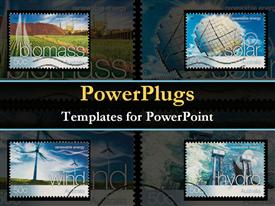 PowerPoint template displaying different kinds of reusable energy sources in the background.