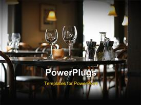 PowerPoint template displaying interior of a cozy restaurant focusing on a ready table for two in the background.