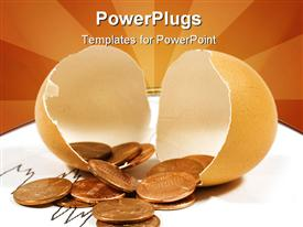 PowerPoint template displaying broken eggshell filled with pennies and sun rays as background