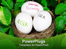 PowerPoint template displaying nest egg savings metaphor with bird's nest IRA, 401k, social security eggs, retirement, savings