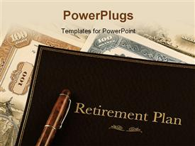 PowerPoint template displaying retirement plan portfolio on top of vintage stock certificates