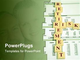 PowerPoint template displaying close up 401(k) statement with the words retirement and risk in the background.