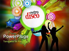 Disco style poster with copy space on colorful background powerpoint template