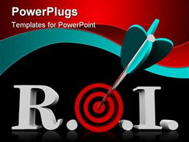 PowerPoint template displaying acronym ROI meaning Return on Investment with an arrow hitting a bulls eye in the middle