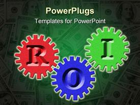 PowerPoint template displaying three different colored gears showing ROI, return on investment