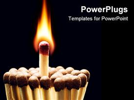PowerPoint template displaying bosom match. The Main match blazes. Can appear fire in the background.