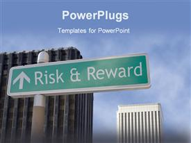 PowerPoint template displaying street sign risk & reward located in a business district in the background.