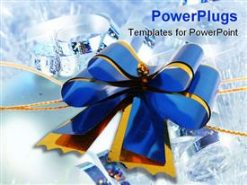 PowerPoint template displaying dark blue celebratory bow for registration of a gift and a congratulation on a white background