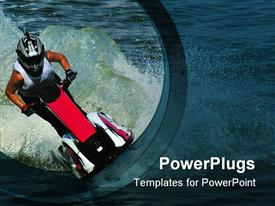PowerPoint template displaying someone riding a jet ski at high speed surrounded with water drops