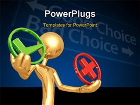 PowerPoint template displaying gold figure holding green check and red x