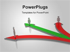 PowerPoint template displaying depiction of three men taking different paths with one the right path