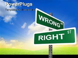 PowerPoint template displaying sign post with right and wrong directions with nature landscape in the background