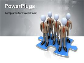 PowerPoint template displaying five 3D human characters standing on a large blue puzzle