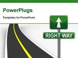 PowerPoint template displaying highway with green road sign showing direction to RIGHT WAY