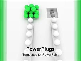 PowerPoint template displaying lots of white balls on two different paths leading to other balls