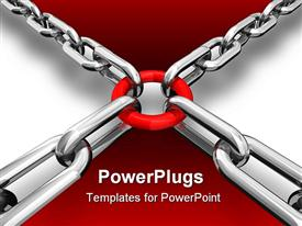 PowerPoint template displaying a number of chains with a circle and grayish background