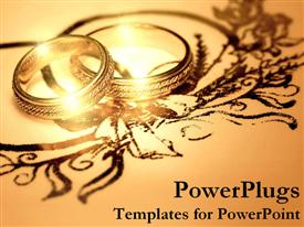PowerPoint template displaying two golden wedding rings