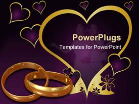 PowerPoint template displaying purple background with love symbols gold rings, and two lovers