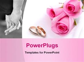 Wedding rings and pink roses presentation background