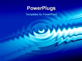 PowerPoint template displaying abstract background with blue bright water ripples in the background.