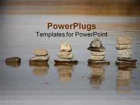 PowerPoint template displaying stacks of rocks increasing in size on a wet beach