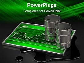 PowerPoint template displaying oil barrels on green stock chart