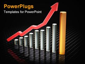 PowerPoint template displaying 3D shart showing rising profits in business on black background