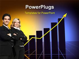 PowerPoint template displaying business statistics graph with nice lighting effects in the background.