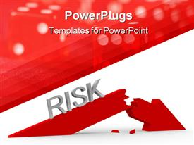 PowerPoint template displaying broken red arrow and the word risk in the background.