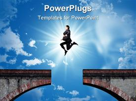 PowerPoint template displaying bridge with missing part and businessman jumping over the gap of the bridge with the sun in the background on bright blue sky