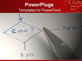 PowerPoint template displaying diagram with pen about managing risk in a flow chart in the background.