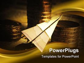 PowerPoint template displaying financial concept with paper plane and coins in the background.