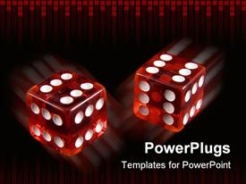 PowerPoint template displaying loaded dice - always throwing double six in the background.