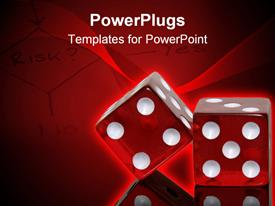 PowerPoint template displaying pair of red dice reflecting on black surface in the background.