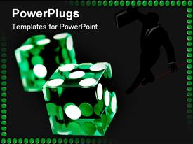 PowerPoint template displaying a pair of transparent green dies with white dots