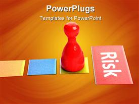 PowerPoint template displaying a red pawn goig towards the risk factor