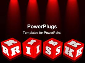 PowerPoint template displaying risk dice computer generated depiction for concept design in the background.