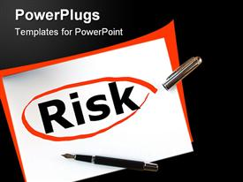 PowerPoint template displaying risk in financial business investment is dangerous in the background.