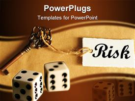 PowerPoint template displaying risk management concept with old key showing success in the background.
