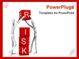 PowerPoint template displaying risk: and resolution 3D depiction in the background.