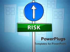 PowerPoint template displaying sign pointing the risk in the background.