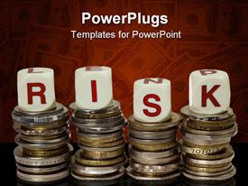 PowerPoint template displaying stacks of coins with the word RISK in the background.