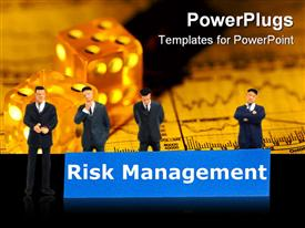 PowerPoint template displaying word risk management showing business investment or finance concept in the background.