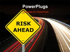 PowerPoint template displaying risk ahead sign showing business concept with copy space in the background.