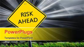 PowerPoint template displaying yellow road sign as a warning of risk ahead in the background.