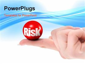 PowerPoint template displaying risk concept on finger there is no infringement of trademark copyright in the background.