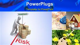 PowerPoint template displaying risk in Investment, 3D concept in the background.
