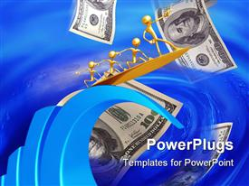 PowerPoint template displaying 100 dollar bills fluttering into blue water with golden men surfing