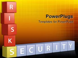 PowerPoint template displaying weigh risks and security to build a stack of financial investment planning in the background.